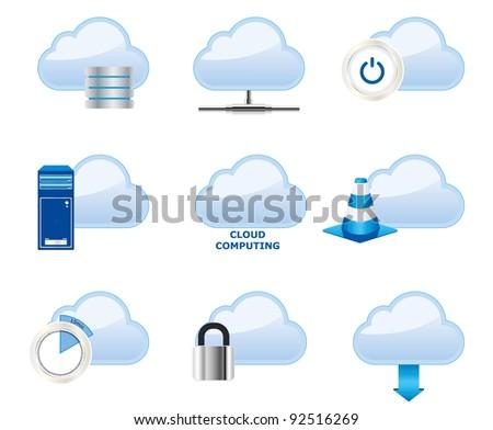 Cloud computing icons - stock vector