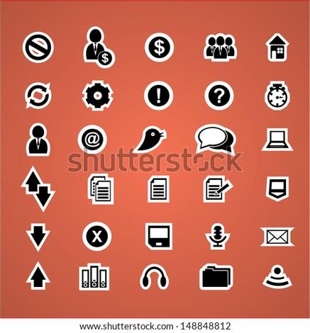 Cloud computing icons and symbols, vector illustration set - stock vector