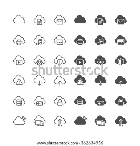 Cloud computing icons, included normal and enable state. - stock vector