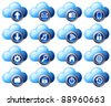 Cloud Computing icons virtual cloud digital media storage - stock photo