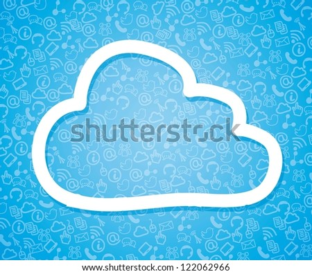 cloud computing illustration over blue background. vector - stock vector