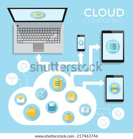 Cloud computing infographics concept. Vector eps10 with transparency. - stock vector