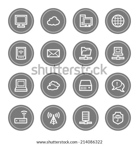Cloud computing & internet web icons, grey circle buttons