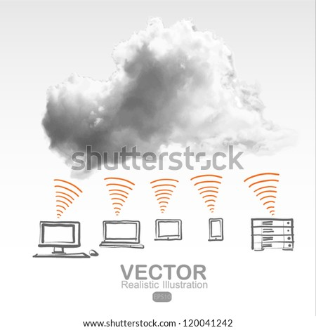 cloud computing network - stock vector