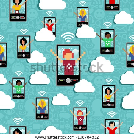 Cloud computing network connectivity team seamless pattern  Vector file layered for easy manipulation and custom coloring - stock vector