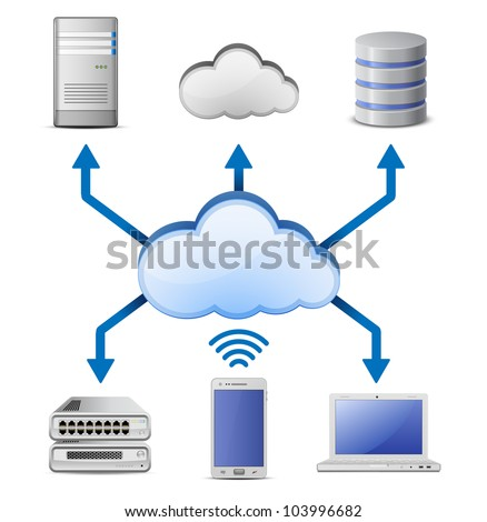Cloud computing network scheme constructor. Vector illustration - stock vector