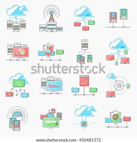 cloud computing networking. server datacenter. computer network technology. server database, technical instruments. Modern flat design. Logo pictogram elements - stock vector