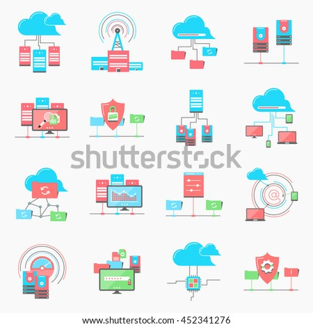 cloud computing networking. server datacenter. sad and hdd, computer network technology. server database, technical instruments. Modern flat design. Logo pictogram elements - stock vector