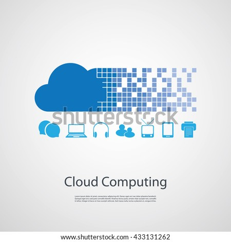 Cloud Computing, Networks Design Concept with Different Icons - stock vector