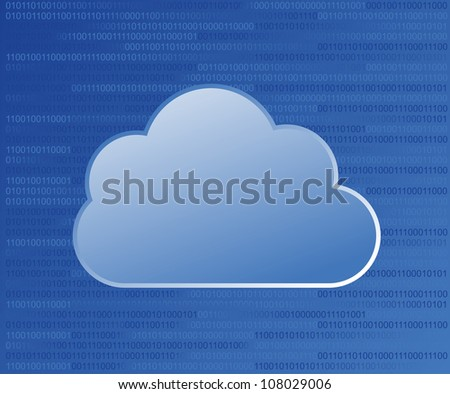 Cloud computing on binary code numbers background. Vector file layered for easy manipulation and custom coloring. - stock vector