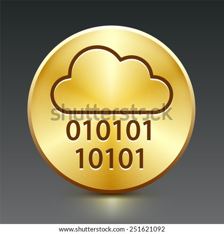 Cloud Computing on Gold Round Buttons - stock vector