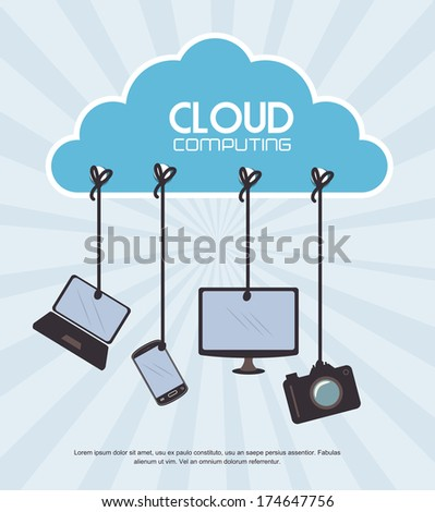 cloud computing over  blue background vector illustration