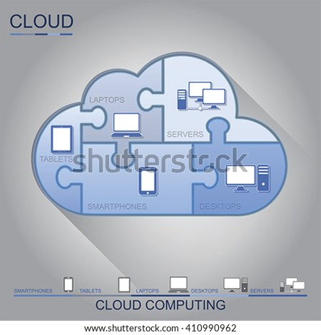 Cloud computing puzzle concept design, vector