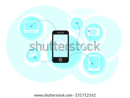 Cloud computing schema concept. Business smartphone communicate in wifi. Wireless technology - stock vector