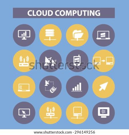 cloud computing, server, computer icons, signs, illustrations set, vector - stock vector