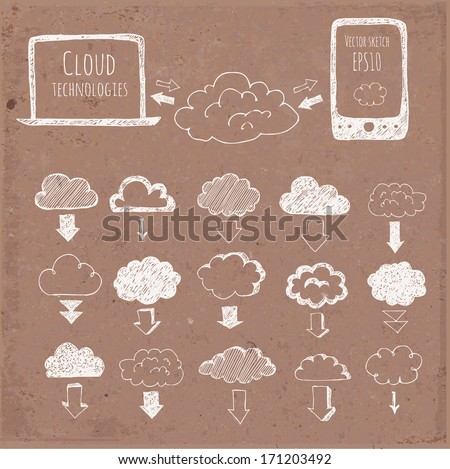 Cloud computing sketch. Icons of clouds, phone, laptop and arrows. Hand-drawn with ink on brown paper. Vector sketch illustration. - stock vector