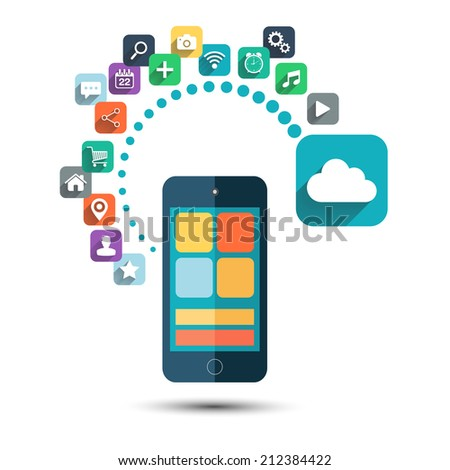 Cloud computing. Smart phone with icons set on white background.