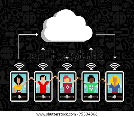 Cloud computing social team under cloud with cell phone connection on black background.  Vector file available. - stock vector
