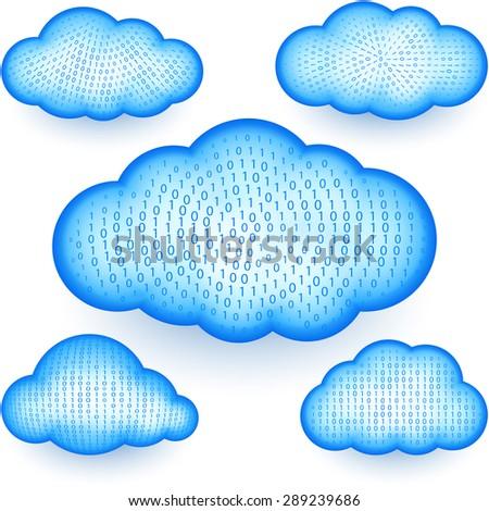 Cloud computing storage with a digital binary data; Eps10 - stock vector