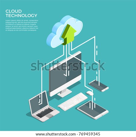 Cloud computing technology users network configuration isometric advertisement poster with pc monitor tablet phone laptop vector illustration