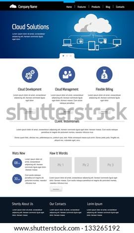 Cloud computing, template web site - stock vector