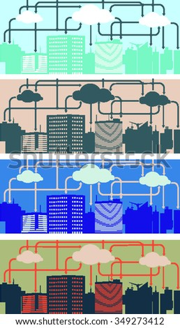 Cloud Computing. Urban Landscape. City  Network - Wifi Internet Connectivity concept. - stock vector