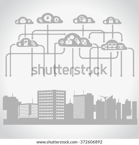 Cloud Computing. Urban Landscape. City Network - Wifi Internet Connectivity concept.Social icons.User Icons and People Icons with Background. - stock vector