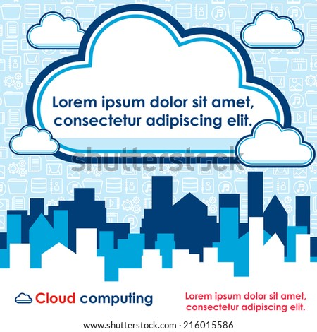 Cloud computing vector banner. - stock vector