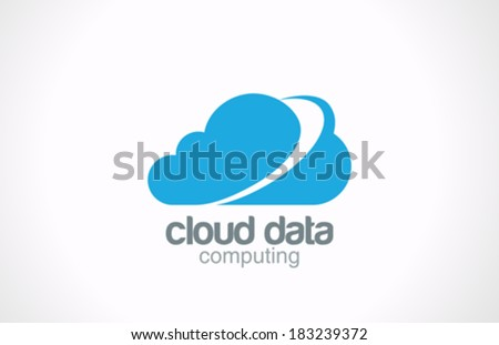Cloud computing vector logo design template. Creative global internet concept. Network data transferring icon. - stock vector