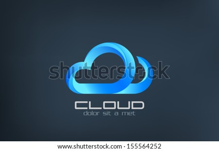Cloud computing vector logo design template. Data storage transfer concept. Upload, download trendy style idea. Corporate icon. - stock vector