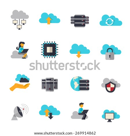 Cloud computing web technologies flat icons set isolated vector illustration - stock vector