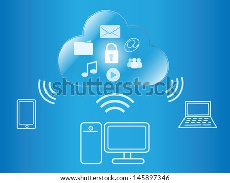 cloud computing wireless access to digital content - stock vector