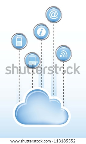 cloud computing with communication signs over white background. vector - stock vector