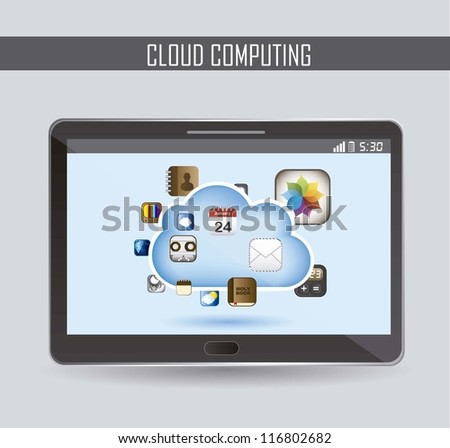 cloud computing with icons apps . vector illustration