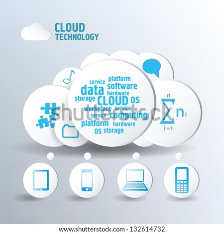 Cloud concept blue color. Mobile icons for infographics. - stock vector