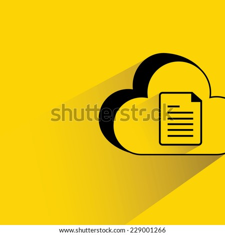 cloud data on yellow background, flat and shadow theme - stock vector