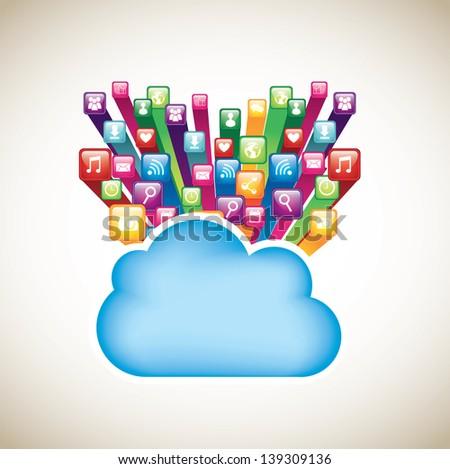 cloud data over beige background vector illustration - stock vector