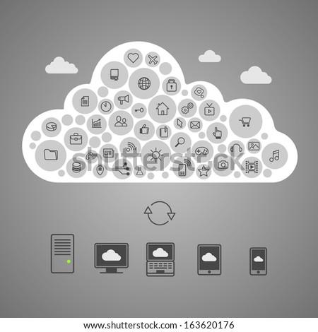 Cloud database computing infographics - stock vector