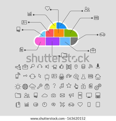 Cloud database computing infographics icons set - stock vector