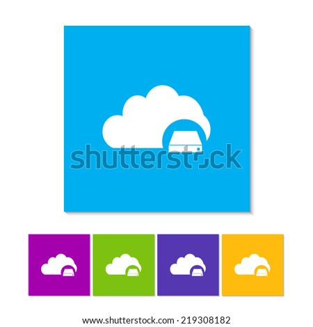 Cloud Database Icon : Cloud Computing Concept in flat style. Orange, purple, magenta, violet, yellow, green and blue color buttons - stock vector