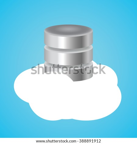 cloud database with clouds and database illustration - stock vector