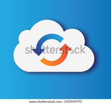 cloud design over blue  background vector illustration - stock vector