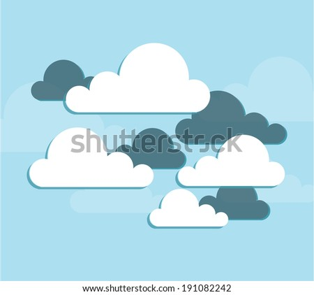 Cloud design over blue background, vector illustration