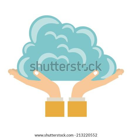 Cloud  design over white background, vector illustration - stock vector