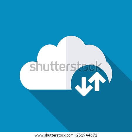 Cloud download and upload icon. Up and down arrows - stock vector