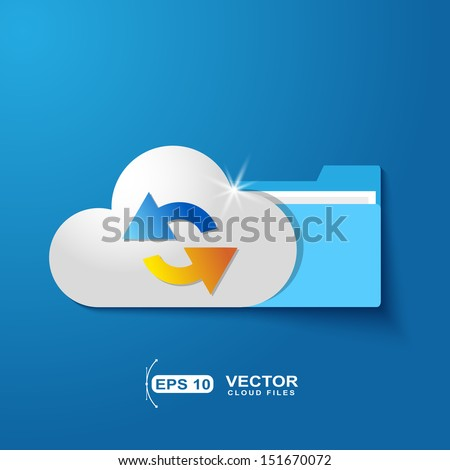 cloud folder files  with shadow effect on blue background - stock vector