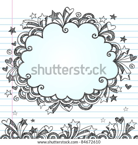 Cloud Frame Sketchy Doodle- Hand-Drawn Notebook Doodles Design Elements on Lined Sketchbook Paper Background- Vector Illustration - stock vector