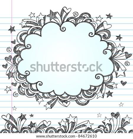 Cloud Frame Sketchy Doodle- Hand-Drawn Notebook Doodles Design Elements on Lined Sketchbook Paper Background- Vector Illustration - stock vector