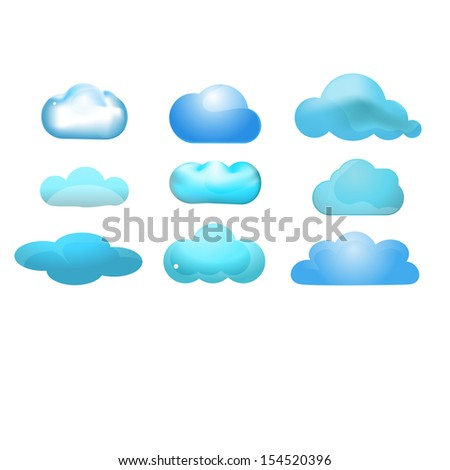 Cloud glossy icon set of 9 (Cloud computing concept)