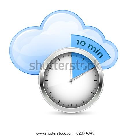 Cloud Hosting Fast Setup. Vector Illustration - stock vector